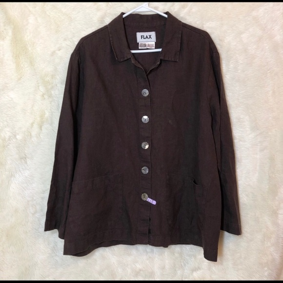 bf70512ae238a0 Flax Tops | Womens Linen Brown Blouse Size M | Poshmark